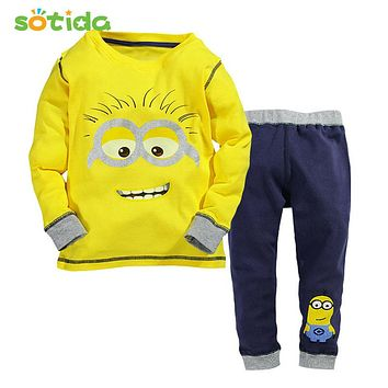 Sotida Clothing Sets 2016New Fashion Christmas Boys Girls Clothes T-shirt + Casual Pants Kids Clothing Sets For Children Clothes