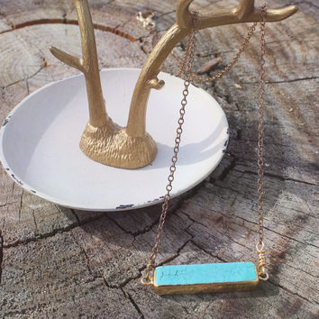 Minimalist Turquoise Howlite Bar Necklace // Boho Layered Necklace // Boho Jewelry // Bohemian Tribal Gypsy Jewelry // Unique Gift For Her
