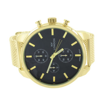 Mens NY London Watch Gold Tone Black Dial Mesh Band 57 MM Round Face Analog Sale