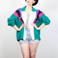 Vintage 80s Track Jacket Teal Green Color Block Windbreaker Jacket 1980s Bomber Jacket New Wave Wind Breaker Sporty Jacket L Extra Large XL