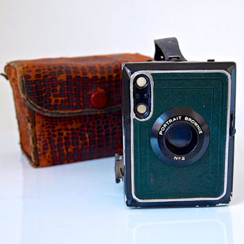 1920s / Early 30s Kodak No. 2 Portrait Brownie Camera - Leather Bag and Original Paper Manual - Vintage Film Camera - Made in England