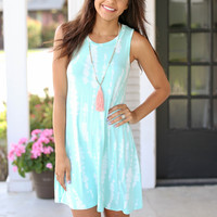 Wild Child Tye Dye Dress - Mint