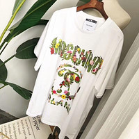 MOSCHINO 2018 Summer Garden Series Three-Dimensional Letter Print Loose T-Shirt F-CY-MN White