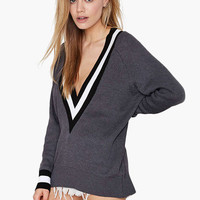 Deep V-Neck Knitted Sweatshirt
