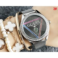 GUESS Popular Women Men Simple Diamond Movement Watch Wristwatch 3#