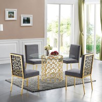Opal Contemporary Round Gold Dining Table Glass 54""