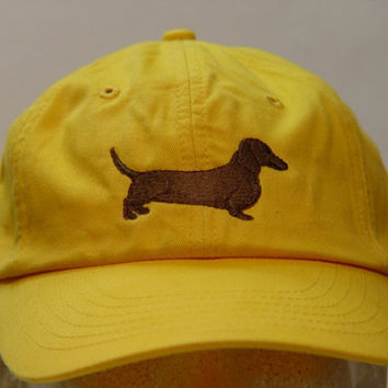 DACHSHUND DOG Hat - One Embroidered Men Women Cap - Price Embroidery Apparel - 24 Color Caps Available