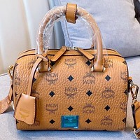MCM Fashion New More Letter Print Leather Handbag Shoulder Bag Crossbody Bag Brown
