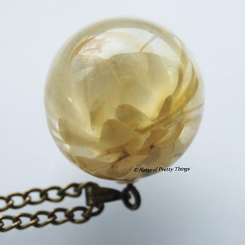 Lotus Necklace Ivory Real Flower Jewelry White Purity Crystal Resin Air Water Lily Globe Ball Orb Large Statement