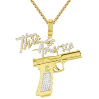 Men's This is America Gun Gangster Custom Silver Pendant Chain