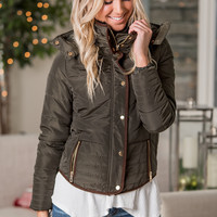 Losin Control Zip Up Button Closure Padded Jacket (Dark Olive)