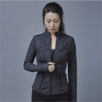 """lululemon""Sports show hand-picked stretch yoga cardigan jacket zipper cultivate one's morality Grey"