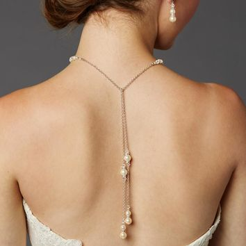 Handmade Glass Pearl Back Necklace with Lariat Dangles