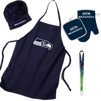 Seattle Seahawks NFL Barbeque Apron and Chef's Hat and Oven Mitt with Bottle Opener