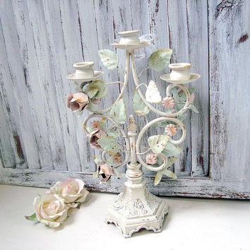 Shabby Chic Metal Candelabra, Floral Ornate Small Candlestick Holder, Taper Candlestick Holder, Pink and Mint Nursery Decor, Pink Roses