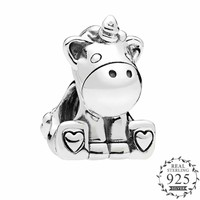 2018 Autumn Cute Bruno The Unicorn Charms fits pandora Charm Bracelets original Silver 925 Animal Charm DIY Making Jewelry.