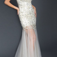 Black Label Couture 39 One Shoulder Sheer Bottom Evening Wedding Gown or Prom Dress