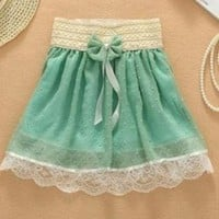 Bowknot is pleated skirt