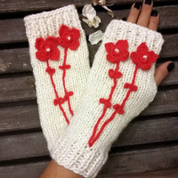 Knitted Gloves,Crochet,Handmade, Hand Warmer,Ivory Gloves, Winter Gloves,Flowers Gloves,Knit Mittens, Gloves Women's Arm Warmers, Gift Ideas