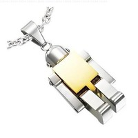 Atlas Jewels Men's Stainless Steel Gold Tone Toy Robot Pendant Necklace with Three Chains