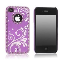 Amazon.com: Pandamimi Deluxe Purple Chrome Bling Crystal Rhinestone Hard Case Skin Cover for Apple iPhone 4 4S 4G With Screen Protector and Purple Stylus: Cell Phones & Accessories
