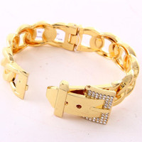 Belt Pave Chain Fold-Over Bracelet - Gold or Silver