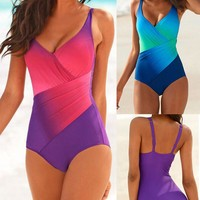 Sexy Comfortable High Quality Summer Gradient Print Spaghetti Strap Patchwork Beach Swimwear [10460576148]