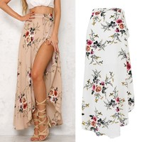 Sought-After BOHO Hippy Women Summer Floral Long Maxi Skirt Beach Sundress 6 8 10 12 14