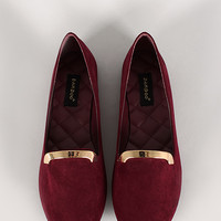 Bamboo Kiwi-27 Faux Suede Round Toe Loafer Flat