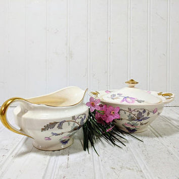 China Sugar Bowl + Cream Pitcher Pink & Purple Poppies Pattern with 18 Carat Gold Trim Marked National Ivory Dinnerware Antique Ivory Color