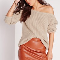 Missguided - Off Shoulder Sweater Nude