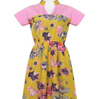 Yellow Mini Collared Dress with Sleeves