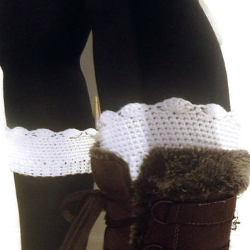simple crochet boot cuffs, white boot socks, free USA shipping!