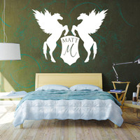 Personalized Custom Text Wall Decal Vinyl Sticker Art Your Name Here Shield Heraldry Pegasus Horses