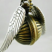 Harry Potter Golden Snitch Enchanted Steampunk Double Sided Wings Watermelon Balls Pocket Watch Necklace with a Extra Battery