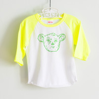 Neon Yellow-Green Raglan Sleepy Creature Tee