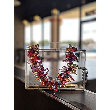 Clear Lucite Bag With/ Fruit Chain