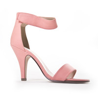 Luxe Open Toe Heels In Salmon Coral