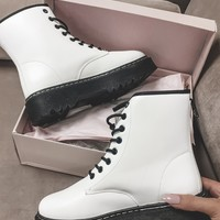 Stomping Grounds White Platform Lace Up Boots