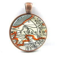 Cleveland, Ohio, Pendant from Vintage Map, in Glass Tile Circle