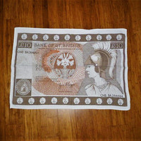 "Vintage 1970s ""Ten Pound"" Bank of Gt. Britian Novelty Tea Towel / Linen English Souvenir Tea Towel / Currency Kitchen Cloth"