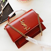 YSL New fashion leather solid color contrast color shoulder bag women Red