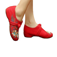 Chinese Embroidered Flat Ballet Ballerina Mary Janes Women Shoes in Cotton Red Floral Design