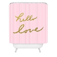 Lisa Argyropoulos hello love pink Shower Curtain