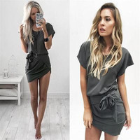 Women's Trending Popular Fashion Hollow Bandage Sexy Package Hip Short Sleeve Handkerchief Erotic Casual Party Playsuit Clubwear Bodycon Boho Dress _ 4614