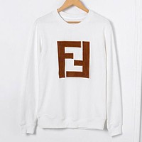 FENDI Autumn Winter Fashionable Women Men Casual Double F Letter Embroidery Long Sleeve Round Collar Sweater Top Sweatshirt White