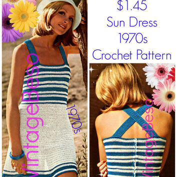 Sun Dress Crochet Pattern EASY CROCHET Vintage 1970s Sundress Crochet Pattern Summer Cover Up Crochet Pattern Instant Download PDF Pattern