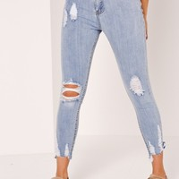 Missguided - Sinner High Waisted Destroyed Hem Skinny Jeans Blue