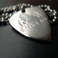 Eminems Hand carving Stainless Steel Guitar Pick Necklace
