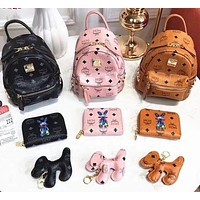MCM three-piece set with full package / double zipper head / big wallet / shoulder strap / puppy pendant Three colors available